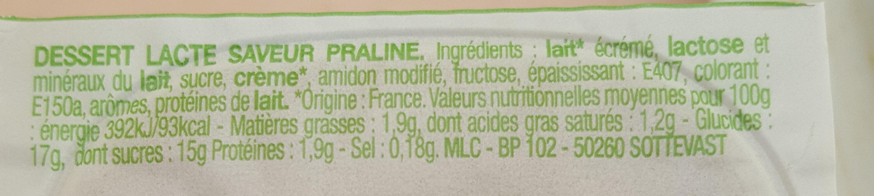 Crème Dessert Saveur Praliné - Voedingswaarden - fr