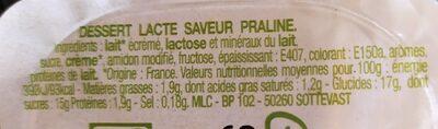 Crème Dessert Saveur Praliné - Informations nutritionnelles - fr