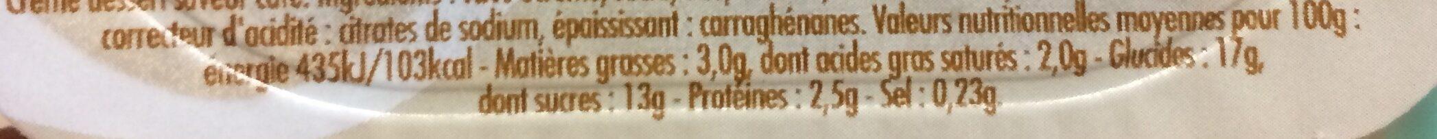 Crème dessert saveur café - Informations nutritionnelles - fr