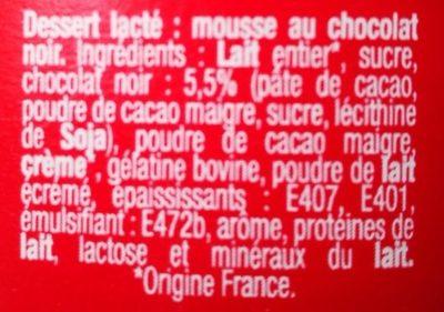 Mousse chocolat noir - Ingrédients - fr