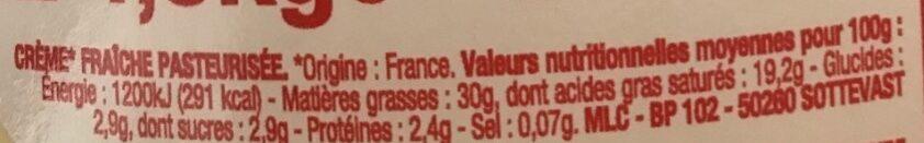 Crème fraîche de Normandie (30% MG) - Voedingswaarden - fr