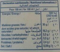 Bourg fleuri, Creme sterilisee uht 30 % mg, la brique d'1 l - Informations nutritionnelles