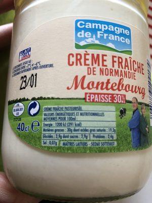 Creme fraiche de Normandie Montebourg épaisse 30% - Ingrédients - fr