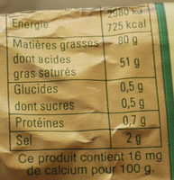 Beurre de baratte d'Isigny - Nutrition facts - fr