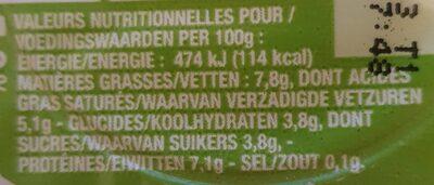 Fromage frais - Informations nutritionnelles - fr