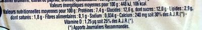 fromage frais sucré aux fruits - Informations nutritionnelles - fr