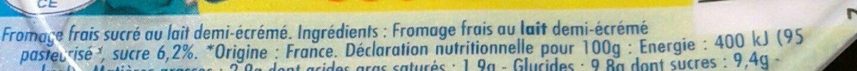 Fromage frais sucré - Ingrédients - fr