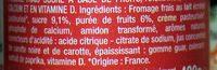 Fromage Frais aux Fruits 2% M.G. - Ingrédients