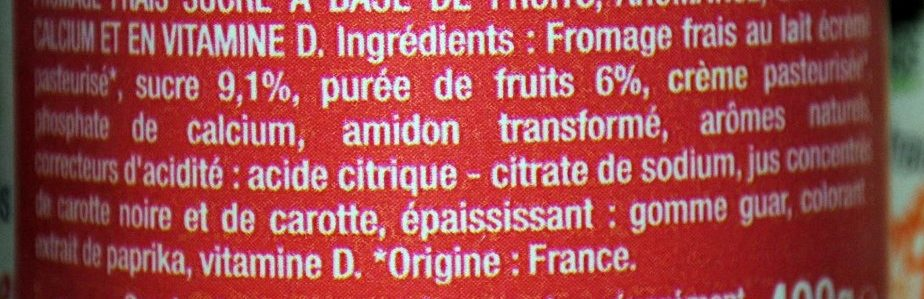 Fromage Frais aux Fruits 2% M.G. - Ingredients