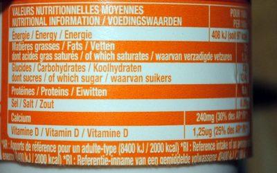 Fromage Frais aux Fruits 2% M.G. - Informations nutritionnelles