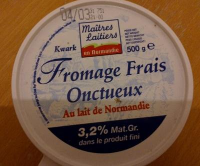 Fromage frais onctueux Au lait de Normandie 3,2% Mat. Gr. dans le produit fini - Product