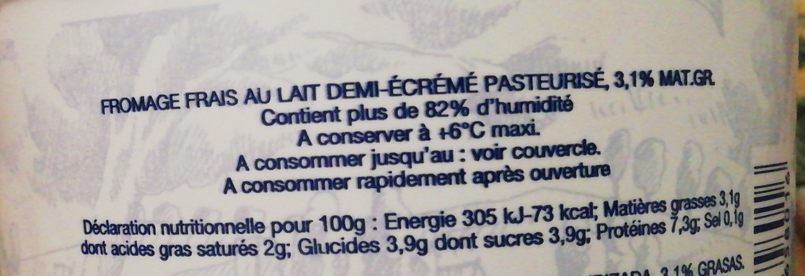 Fromage frais onctueux - Ingredients