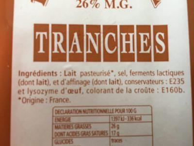 Raclettes Tranches - Ingrédients - fr