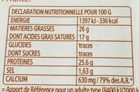Raclettes Tranches - Informations nutritionnelles - fr