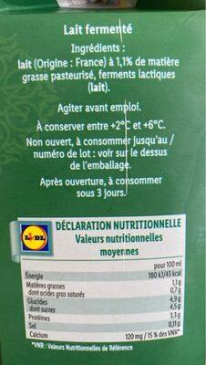 Lait fermenté - Voedingswaarden - en