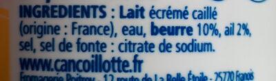 Cancoillotte à l'ail - Ingredients