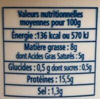 Fromage cancoillotte à l'ail - Informations nutritionnelles - fr