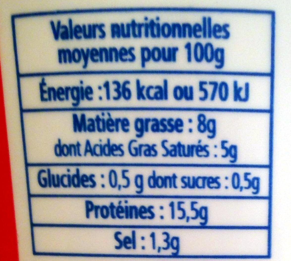 Cancoillotte Ail - Informations nutritionnelles