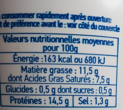 Cancoillotte Ail et fines herbes 200g - Informations nutritionnelles - fr