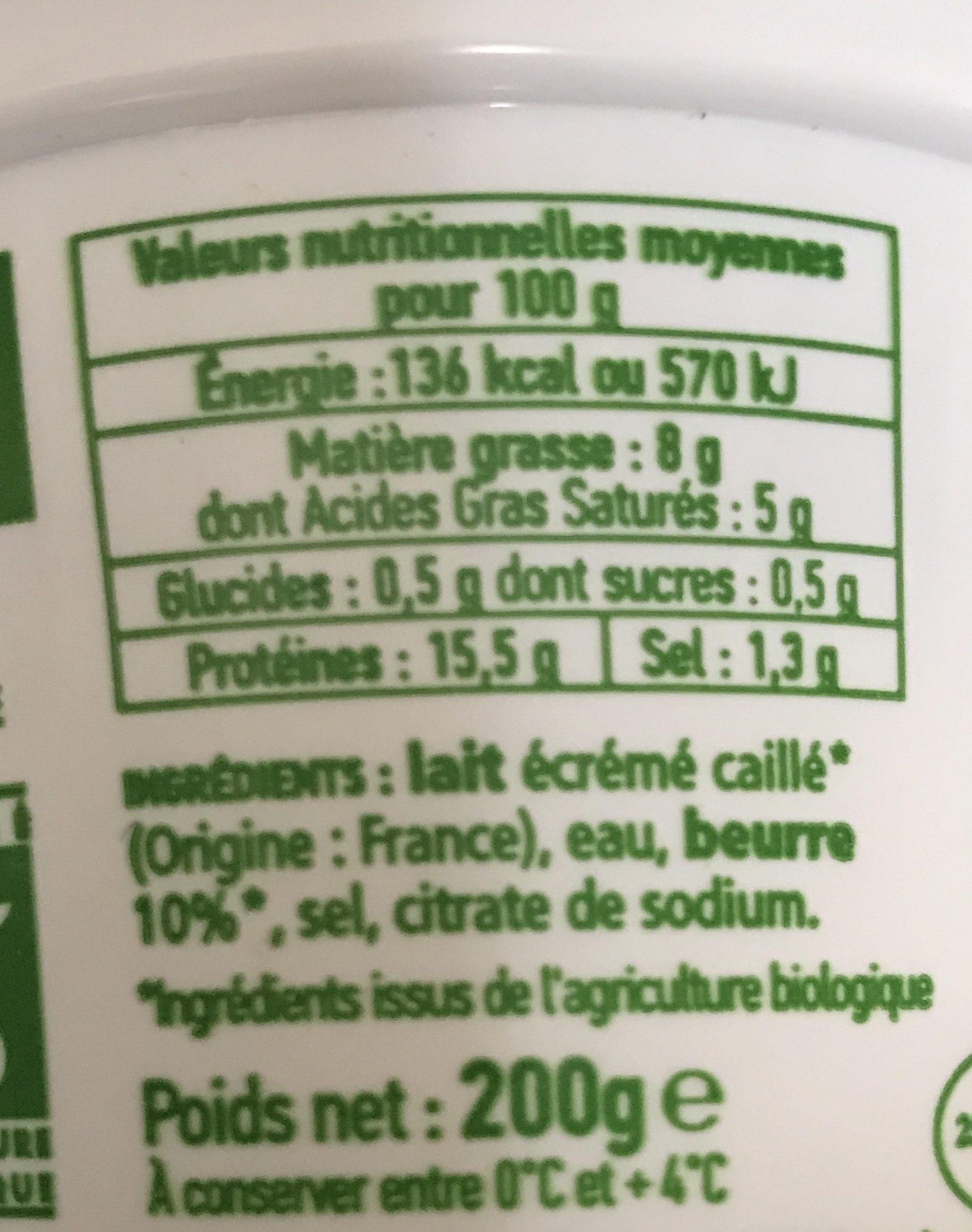 Cancoillotte La Belle Etoile Pot Bio - Nutrition facts