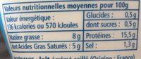 Cancoillotte Squizeur Nature 250g - Informations nutritionnelles - fr