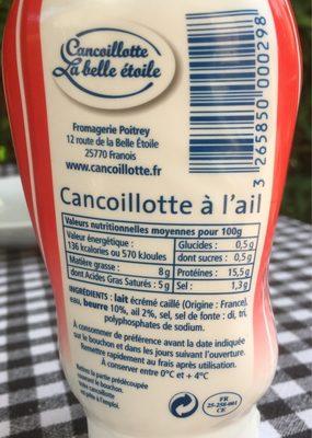 Cancoillotte Squizeur Ail 250g - Ingrédients