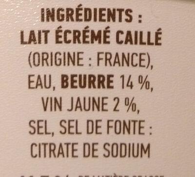 Cancoillotte gourmande Vin Jaune - Ingredientes - fr