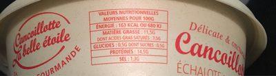 Cancoillotte gourmande Echalote de Bretagne - Informations nutritionnelles - fr