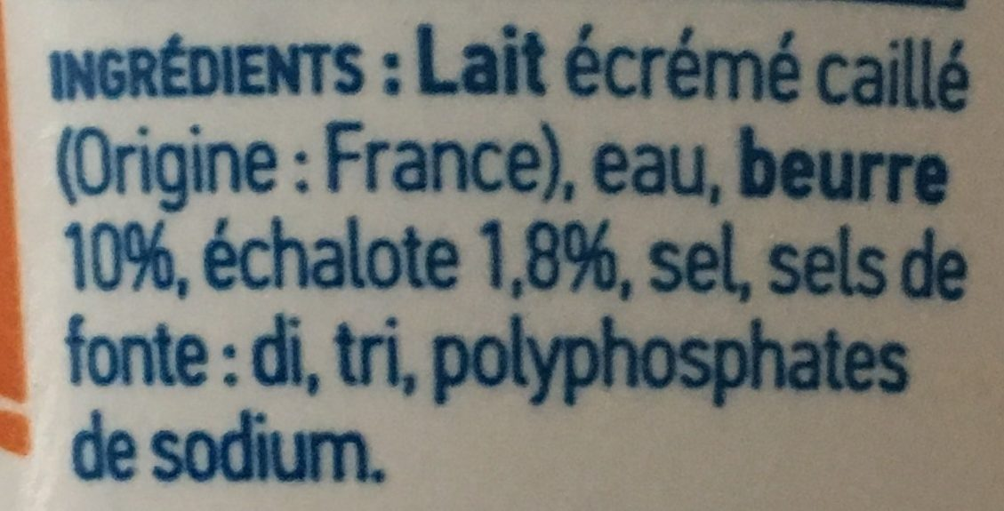Cancoillotte Echalote 250g - Ingredients - fr