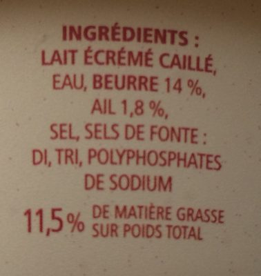 Cancoillotte ail rose - Ingredients