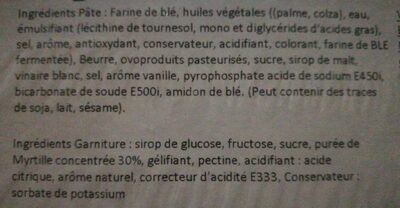 Tarte Myrtilles - Ingredients - fr
