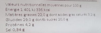 Cake framboise - Informations nutritionnelles - fr