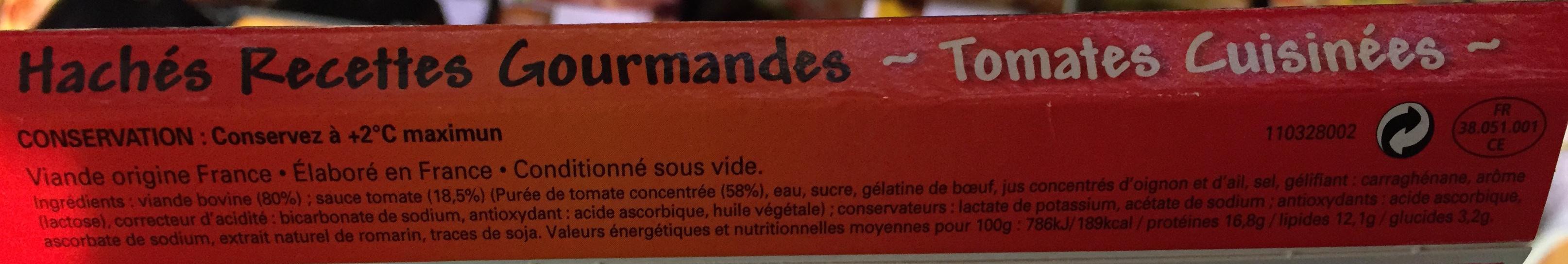 Hachés recettes gourmandes Tomates cuisinées - Nutrition facts
