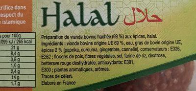 Boulette Halal - Ingredienti - fr