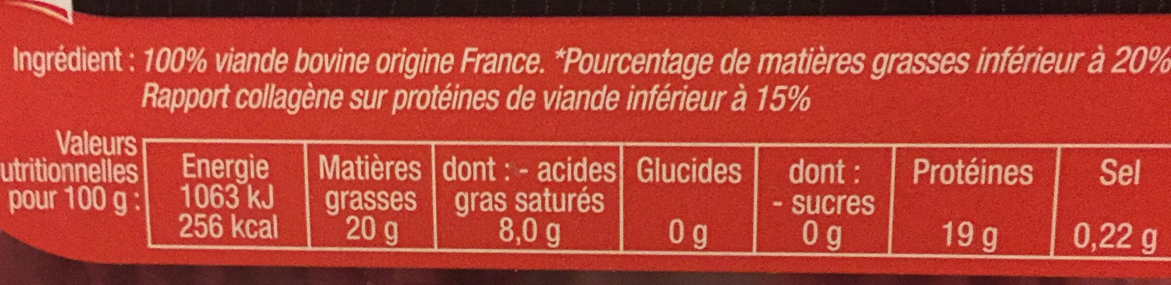 Hachés Pur Bœuf - Ingredients