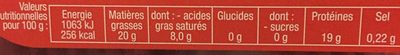 Hachés Pur Bœuf - Nutrition facts