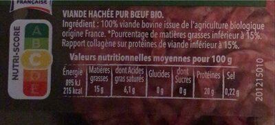 Steak hache bio pur boeuf 15% de MG SOVIBA - Voedingswaarden - fr