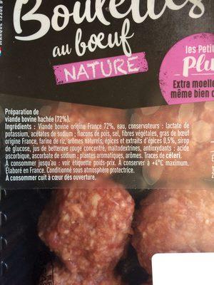 Boulette de boeuf Tendre & Plus Nature - Ingrédients - fr