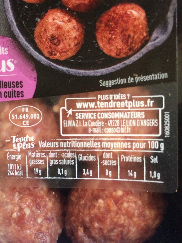 Boulette de boeuf Tendre & Plus Nature - Informations nutritionnelles - fr
