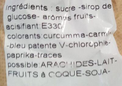 "Bonbons ""Salade de fruits"" - Ingredients"