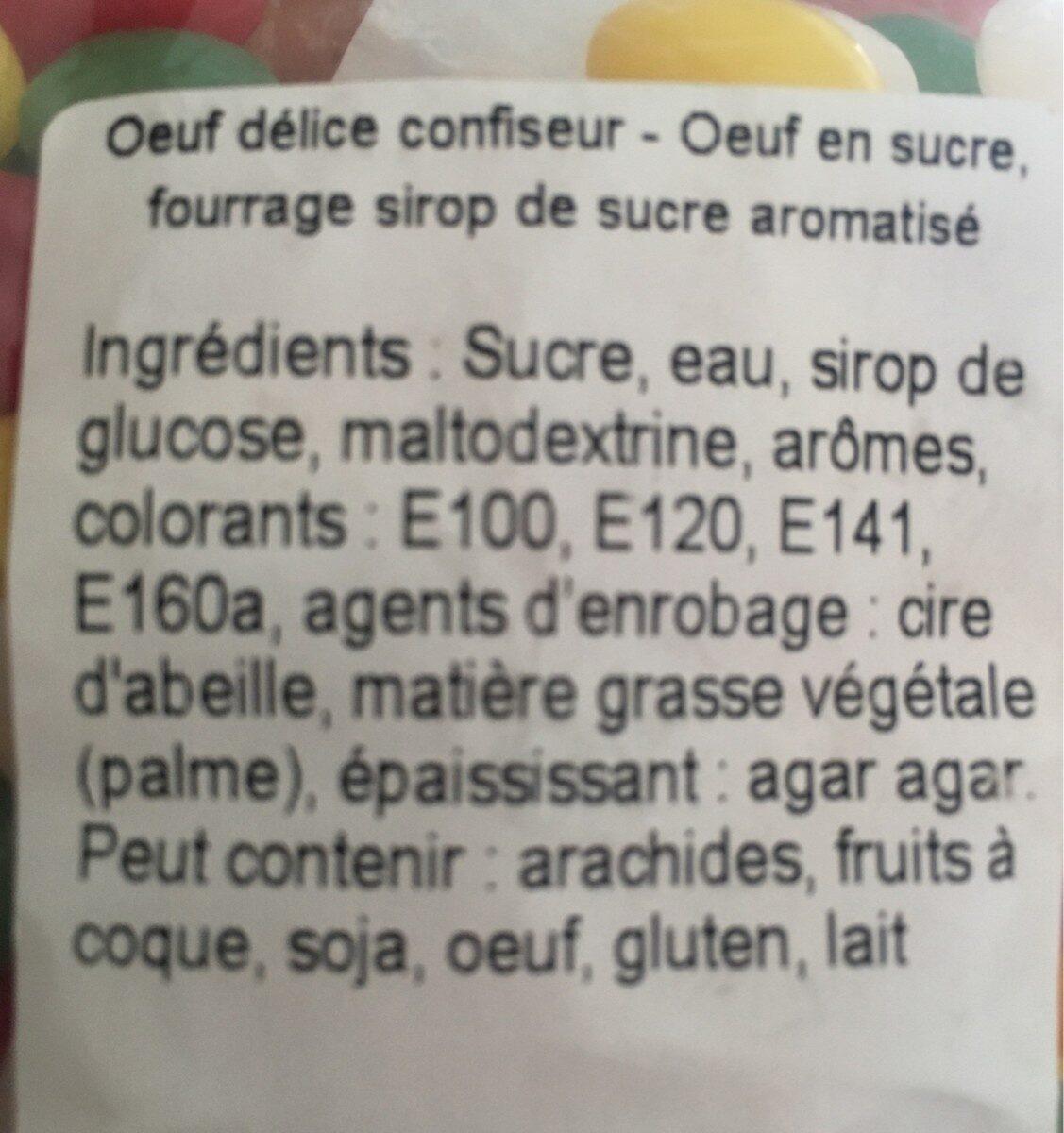 Oeufs delice confiseur - Ingredients