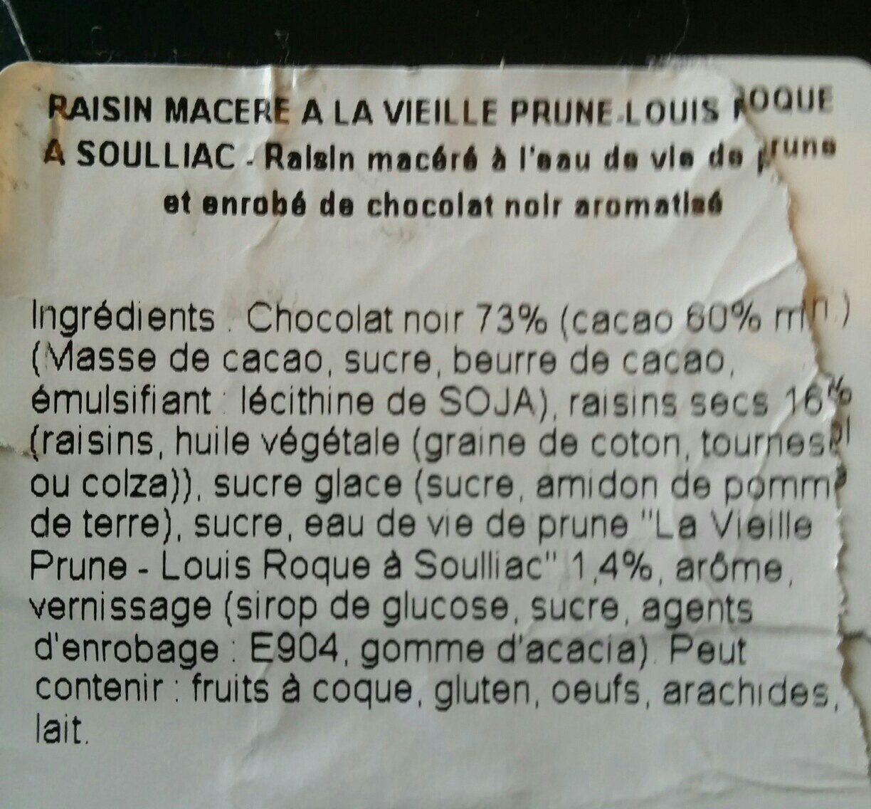 Raisin macérés - Ingrédients