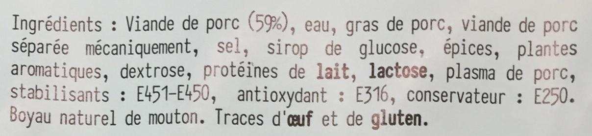 Saucisse de Francfort (x 4) - Ingrédients - fr