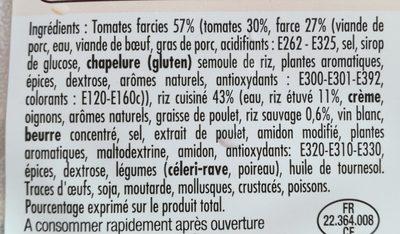 Tomates Farcies et riz cuisiné - Ingrédients