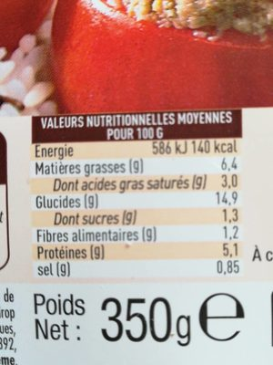 Tomates Farcies et riz cuisiné - Nutrition facts