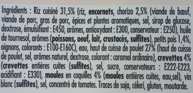 Paëlla poulet chorizo fruits de mer - Ingrédients