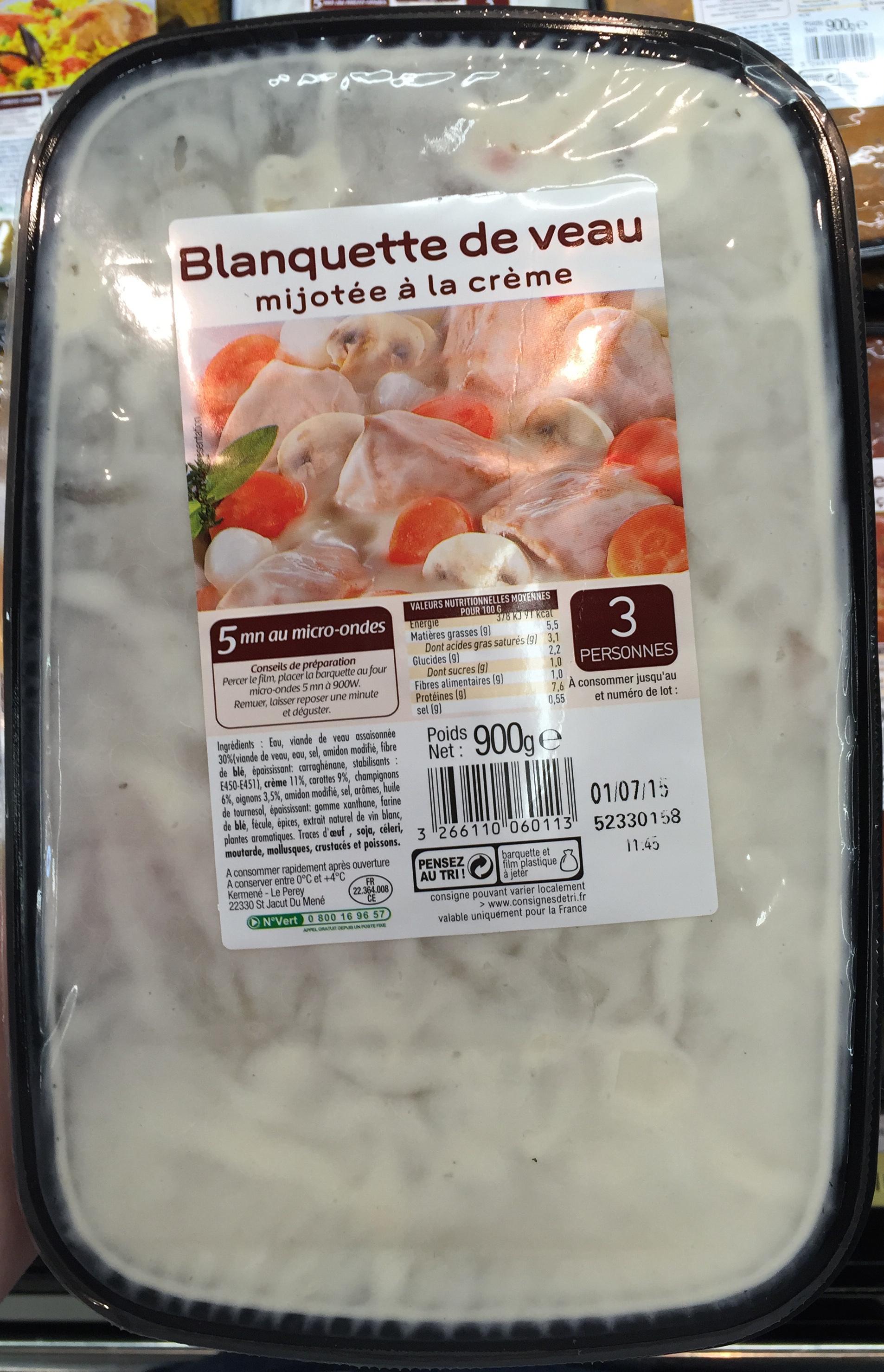 Blanquette de veau mijotée à la crème - Produit - fr