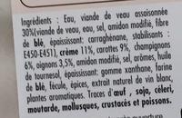 Blanquette de veau mijotée à la crème - Ingrédients