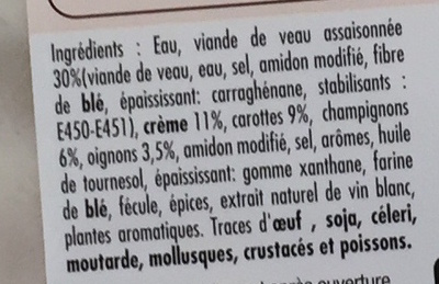 Blanquette de veau mijotée à la crème - Ingrédients - fr