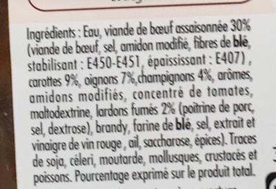 Bœuf bourguignon mijoté aux lardons - Ingrédients - fr